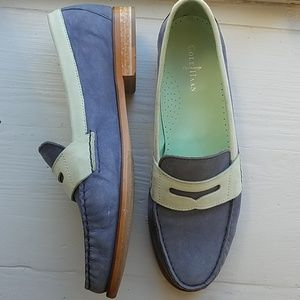 COLE HAAN Alexa blue & mint Moc Penny Loafers